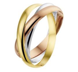 14 K Tricolor Gouden Dames Ring Trinity Stijl Cartier - Mt 18,25 mm