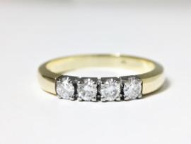 Diamonde 14 K Gouden Rijring 0.40 crt Briljantgeslepen Diamant H/ VVS