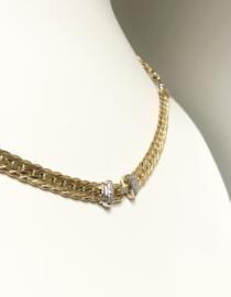 14 K Gouden Gourmet Collier 0.06 crt Briljantgeslepen Diamant - 42 cm / 18,95 g