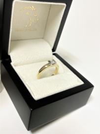 14 K Gouden Solitair Ring Verlovings Ring 0.20 Crt Briljantgeslepen Diamant G / IF - Loupe Zuiver