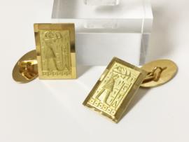 Antieke 18 K Gouden Manchet Knopen - Egyptisch Tafereel