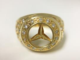 18 K Gouden Heren Mercedes Ring 0.38 crt Briljantgeslepen Diamant - 7,1 g