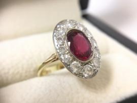 Antiek Gouden Entourage Ring Robijn / 1.0 crt Diamant Oud Europees Slijpsel