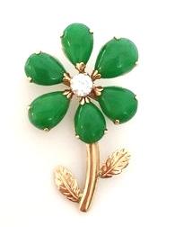 Antiek  Gouden Bloem Broche Jade / Briljantgeslepen Zirkonia