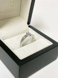 Diamonde Witgouden Solitair Bandring 0.20 Crt Briljant Geslepen Diamant Loupe Zuiver
