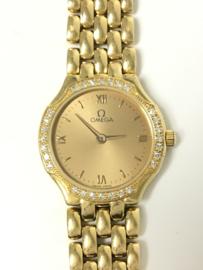 Omega 18 K Massief Gouden Dames Polshorloge Lady Diamond - 1989