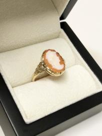 Antiek Handvervaardigd Gouden Schelp Camee Ring