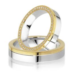Trouwringen Bicolor Goud 14 Karaat 0.22 Diamanten - Model FL18