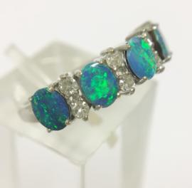 14 K Gouden Rijring Diamant / Blauw Groene Peacock Australische Opaal