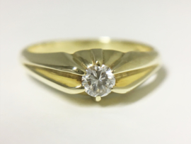 14 K Gouden Solitair Ring 0.20 crt Briljantgeslepen Diamant H/VVS1