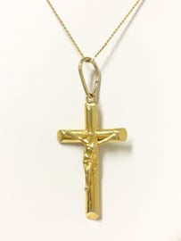 14 K Gouden Hanger - Kruis met Jezus Figuur 3,2 cm