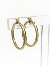 14 K Gouden Oorhangers Creolen Gematteerd Geslepen - 2,5 cm