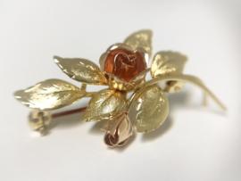 Theodor Klotz Design - 14 K Gouden Broche Roos / 4 cm