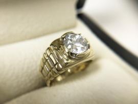 14 K Gouden Heren Rolex Ring Briljantgeslepen Zirkonia - 7,35 g
