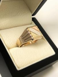 14 K Tricolor Gouden Zegelring - 6,9 g