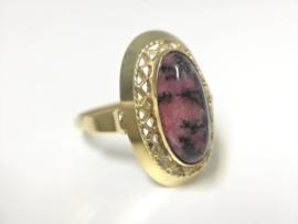 14 K Antiek Gouden Entourage Ring Rhodochrosiet