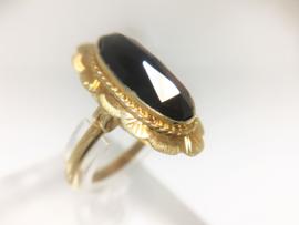 Antiek 14 K Gouden Gravé Ring Facetgeslepen Granaat
