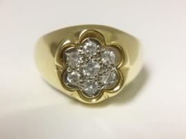 Antiek 18 K Gouden Rozet Ring ca 0.35 crt Diamant G / VS1