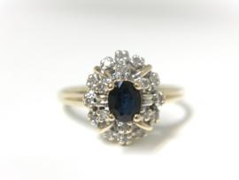 14 K Gouden Entourage Ring Saffier / Briljantgeslepen Diamant