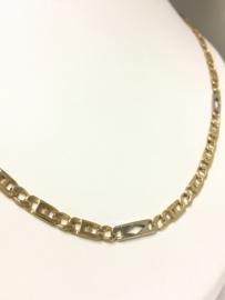14 K Bicolor Gouden Rolex Schakel Ketting - 62 cm / 25,1 g