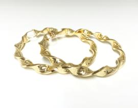 Grote 14 K Gouden Versace Wokkel Creolen - 8 cm