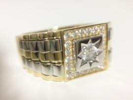 14 K Bicolor Gouden Rolex Ring Briljant Geslepen Heldere Zirkonia - 8,8 g