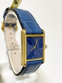 Must de Cartier Tank Lapis Lazuli Dial Dames Polshorloge - Denim Blue Strap