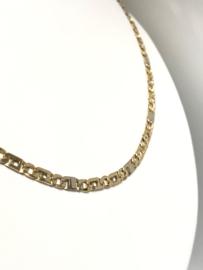 14 K Bicolor Gouden Rolex Schakel Ketting - 51 cm / 15 g