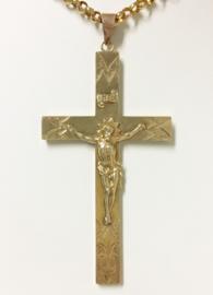 Handvervaardigd Antiek Gouden Hanger - Kruis met Jezus Figuur / 7,5 cm