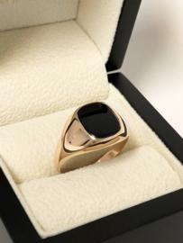 Antiek 14 K Rosé Gouden Zegelring Onyx - Jaren '30