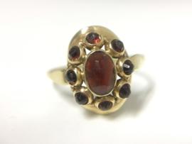 Antiek 14 K Gouden Granaat Ring
