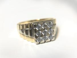 14 K Bicolor Gouden Heren Rolex Ring Briljantgeslepen Zirkonia - 8,75 g