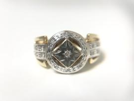 14 K Antiek Bicolor Gouden Heren Ring 0.20 Briljantgeslepen Diamant