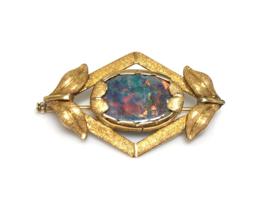 18 K Antiek Gouden Broche Opaal - 4 cm / 6,45 g