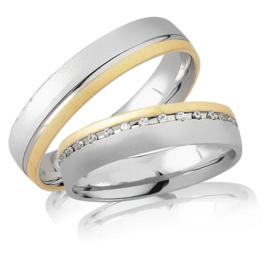 Trouwringen Bicolor Goud 14 Karaat 0.30 Diamanten - Model FL53