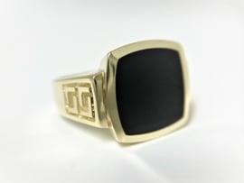 14 K Gouden Heren Zegelring Onyx / Meander Versace Motief - 8,95 g