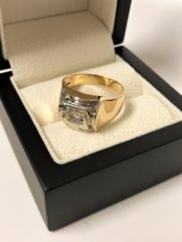 18 K Antiek Gouden Heren Ring 0.50 crt Briljantgeslepen Diamant K/IF