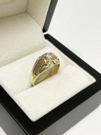 14  K Massief Gouden Heren Pink Ring 0.20 crt Briljant Geslepen Diamant F / VVS2