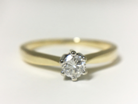 14 K Bicolor Gouden Solitair Ring ca 0.20 crt Briljantgeslepen Diamant H/VVS1