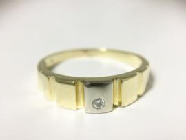 14 K Bicolor Gouden Heren Ring Briljantgeslepen Diamant