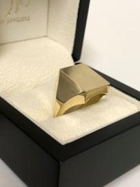 14 K Gouden Heren Zegelring - Model Rechthoek / Geruwd