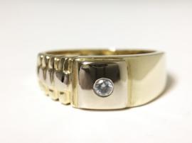 14 K Bicolor Gouden Rolex Ring Zirkonia - 5,55 g