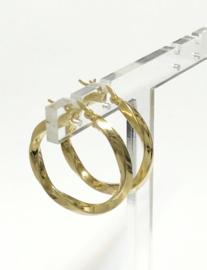 14 K Gouden Wokkel Creolen 3,2 cm