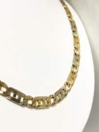 14 K Bicolor Gouden Rolex Schakel Ketting - 64 cm / 50 g