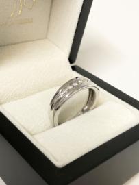 14 K Witgouden Band Ring ca 0.10 Crt Briljant Geslepen Diamant G/VS2