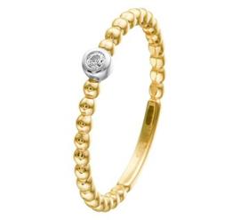 14 K Gouden Aanschuifring Bolletjes Zirkonia - Solitair Ring