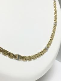 14 K Bicolor Gouden Koningsketting - 60 cm / 23,3 g