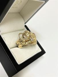 Grote Zware Heren Ring Slangen Briljantgeslepen Diamant / Robijn - 16 g
