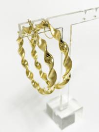 14 K Gouden Wokkel Creolen Mat / Glans - 5,5 cm / 7,3 g