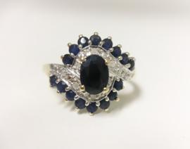 14 K Bicolor Gouden Slag Ring - Saffier / Diamant